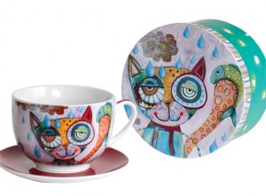 Cat with fish cup & saucer8